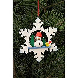 Tree Ornament  -  Snowflake Snowman  -  9,0x9,0cm / 3.5x3.5 inch