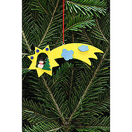 Tree Ornament  -  Snowman in Shooting Star  -  13x5,5cm / 5.1x2.2 inch