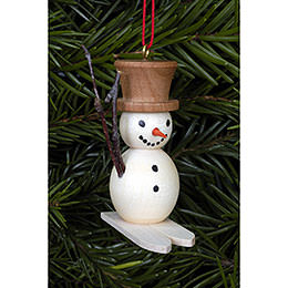 Tree Ornament  -  Snowman on Skis  -  4,8x4,5cm / 2x2 inch