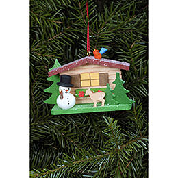Tree Ornament  -  Snowman with Alpine House  -  9,3x5,3cm / 3.7x2.1 inch