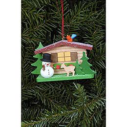 Tree Ornament  -  Snowman with Alpine House  -  9,3x5,3cm / 3.7x2.1 inch