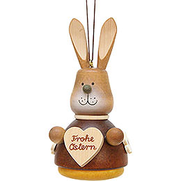 Tree Ornament  -  Teeter Bunny with Heart Natural  -  9,8cm / 3.9 inch