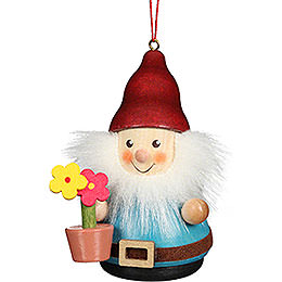Tree Ornament Teeter Man Dwarf with Flower Pot  -  8cm / 3.1 inch