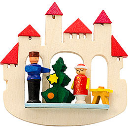 Tree Ornament  -  Town Gate Christmas Tree, Natural  -  7cm / 2.8 inch