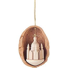 Tree Ornament  -  Walnut Shell with Dresden Church  -  4,5cm / 1.8 inch