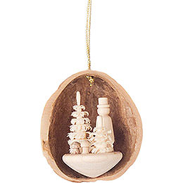 Tree Ornament  -  Walnut Shell with Mushroom Picker  -  4,5cm / 1.8 inch