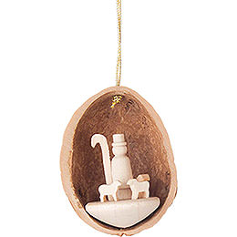 Tree Ornament  -  Walnut Shell with Shepherd  -  4,5cm / 1.8 inch