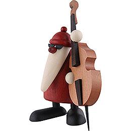 Weihnachtsmann mit Kontrabass  -  12cm