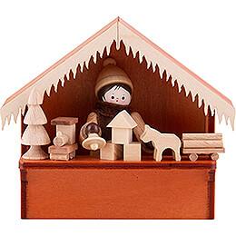 Weihnachtsmarktbude Spielwaren mit Thiel - Figur  -  8cm