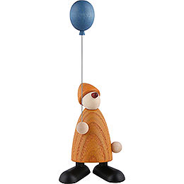 Well - Wisher Linus with Blue Balloon, Yellow  -  9cm / 3.5 inch