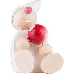 Wicht mit Apfel sitzend  -  weiß 7,5cm