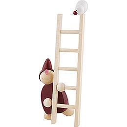 Wicht mit Leiter und Vogel  -  rot  -  20cm