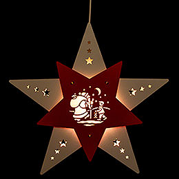 "Window Picture Star ""Santa's Little Helper"" White/Red LED  -  30,5x29x6cm / 12x11.4x2.4 inch"