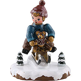 Winter Children Boy with Toboggan  -  7cm / 2,5 inch