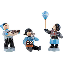 Winter Children with Gingerbread  -  3 pcs.  -  blue  -  7cm / 2.8 inch