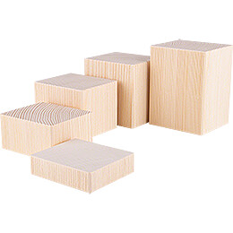 Wooden Block Set  -  5 pieces  -  Natural  -  12cm / 4.7 inch